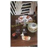 Art Glass, Imari, Llamas, Pr. Candlesticks