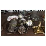 Group Silver Plate, Brass Candlesticks, Plate