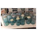 17 Blue Glass Canning Jars