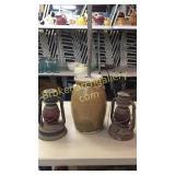 Pottery Churn, 2 Dietz Red Globe Lanterns