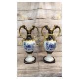 Pair Monumental Royal Dux Mantle Urns