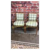 Pair Decorative Maple Open Armchairs
