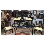 Exceptional Hand Painted and Inlaid Dining Set