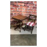 Walnut Side Table & School Chair