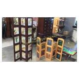 2 Folding Screens W Decorative Glass Panels