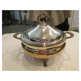 Electric silver plate covered casserole w/ cord