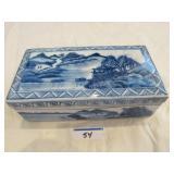 Mid Century Chinese ceramic brush box Quinlong