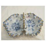 Blue and white floral pattern divided serving bowl