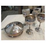 4 Valero (Spain) silverplate stemmed wine goblets,