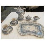 Blue and cream ceramic chocolate set w/ tray