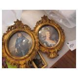 Pair framed prints: Blue Boy, Marie Antoinette