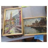 2 framed oil on canvas of Venice c. 1970