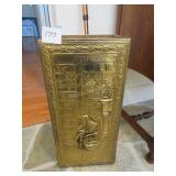 English umbrella stand with stamped brass
