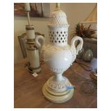 Ceramic and wood table lamp with swan handles
