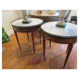 French Regency style marble top end tables w/