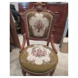 Victorian parlor chair w/ needlepoint seat