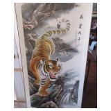 Chinese tiger scroll celebrating birthday