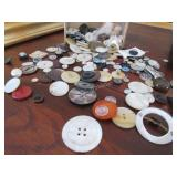 Vintage Mother of Pearl and other buttons, tatting