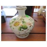 Victorian molded and painted milk glass vase