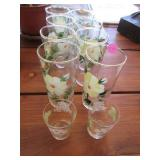 Vintage hand painted tumblers and juice glasses