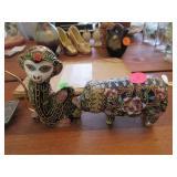 2 Chinese cloisonne figures:monkey, pig