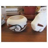 """Small Navaho pot, carved marble buffalo (6"""" +/-)"""