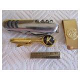 Pocket knie, 2 tie clips, brass money clip