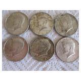6-1964 Kennedy half dollars (silver)