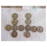 1942- 1949 Washington quarters (13 pcs)