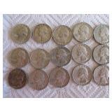 15-1964 Washington quarters (silver)