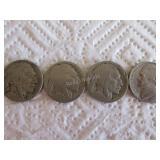3 Buffalo nickels, 1 1961 nickel