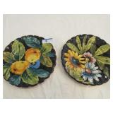 2 hand painted luncheon plates Made in Italy