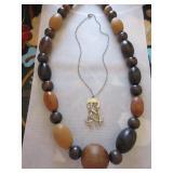 Vintage turned wood bead necklace, unique
