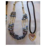 Charoite, Kyanite, and shell necklace, metal