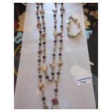 Mocha pearl and shell opera length necklace,