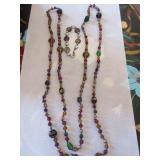 Glass bead necklace (opera length), bracelet