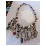 Middle Eastern metal and stone necklace