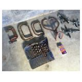 Box of Misc C-Clamps, Drill Bits, Ice Tongs