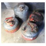 4 Antique Metal Gas Cans