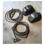 Welding Leads and Two Welding Helmets
