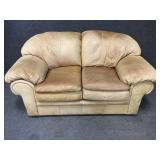 Natural Leather Loveseat