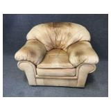 Natural Leather Oversized Chair