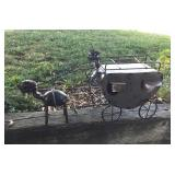 Metal Art Wagon Ant with Horse