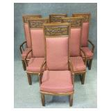Carved Wood Grape Decor Upholsterd Dining Chairs