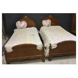 Two Oak Twin Beds
