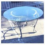 Outdoor Glass Top Table w/ Metal Legs