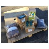 Lot of Home Decor Items and Plastic Wine Glasses