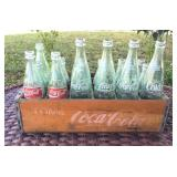 Antique Coca-Cola Crate with 18 Glass Bottles