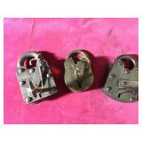 3 Vintage Locks with Keys