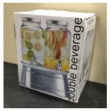 Double Beverage Dispenser With Galvanized Base